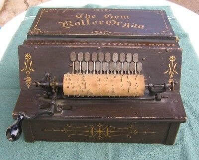 Antique 1887 Gem Roller Organ Working Music Box Pinned Cob Reed Player b
