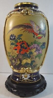 Antique Japanese Satsuma Pottery Vase Decorated with Flowers