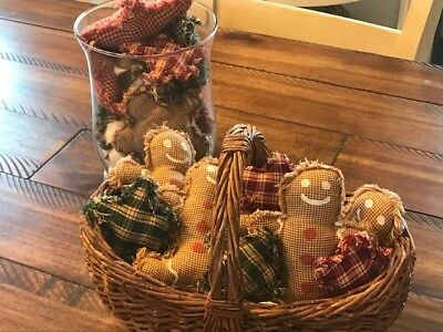 Homespun Ornies Bowl Fillers PrImITive Christmas Gingerbread Men with STARS Red