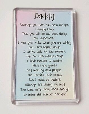 Baby Shower Daddy Poem Fridge Magnet Keepsake Dad To Be Fathers Day Gift