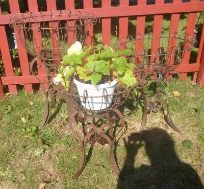 Set of 3 (3) WROUGHT IRON PLANTERS Antique Vintage Scroll Plant Stands