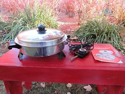 """Saladmaster 11"""" Stainless Steel Electric Oil Core Skillet with Vapo Lid + Manual"""
