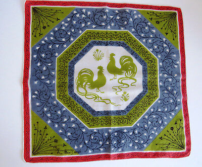 Vintage Tammis Keefe Handkerchief Strutting Roosters Olive Green Blue Signed