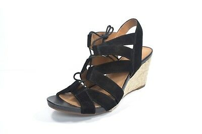 a8a3ff8d6f4 CLARKS Artisan Acina Chester Wedge Sandals Black Suede Leather Size 10 W New