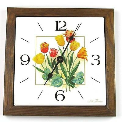 "Vintage Seth Thomas Square Wall Clock ""Dutch Garden"" Very Retro"
