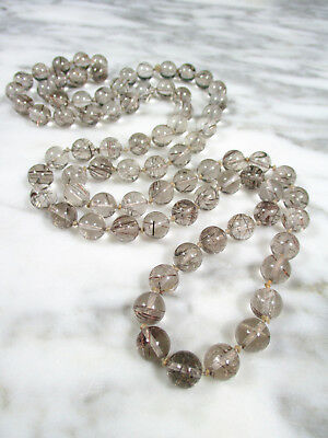 "Antique Chinese Rutilated Smokey Quartz Rock Crystal 38"" Necklace 80 10Mm Beads"