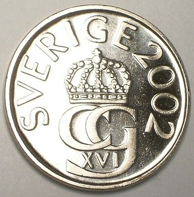 2002 Sweden Swedish 5 Kronor Crowned Monogram Coin Prooflike