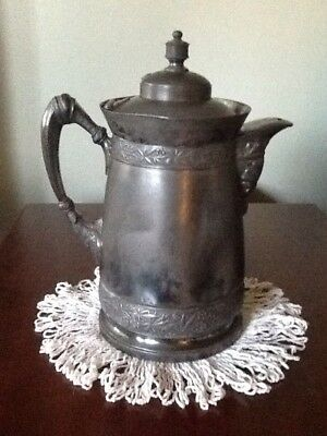ANTIQUE 1872 Simpson Hall Miller Silver Plate Double Walled Ice Pitcher #387
