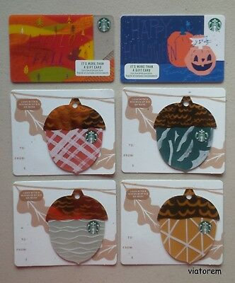 Starbucks Card 2018 Fall Acorn Set with Halloween