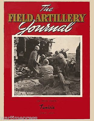 "Lot of 5 Postcards Cover of Field Artillery Journal ""A 105mm in Action"" Tunisia"