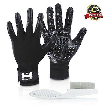 Bright Pets Pet Grooming Gloves with Fine Comb l Gentle Deshedding Glove
