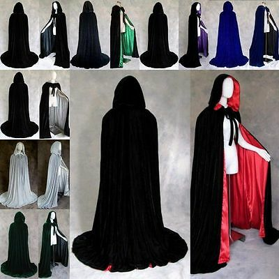 Medieval Velvet Hooded Halloween Cloak  Wizard Vampire Witch Cape Unisex Adult
