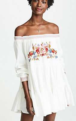 Free People OB816795 Sun Beams Embroidered Off-The-Shoulder Mini Dress Ivory