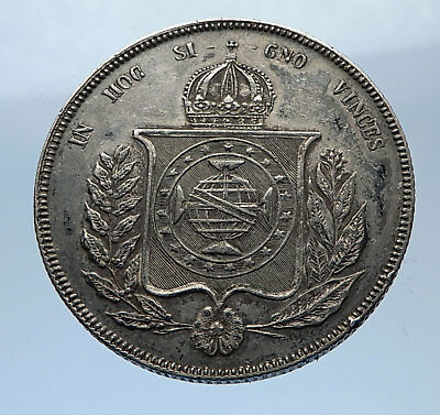 1860 BRAZIL Silver 1000 Reis Antique Brazilian Coin w Coat-Of-Arms i69372