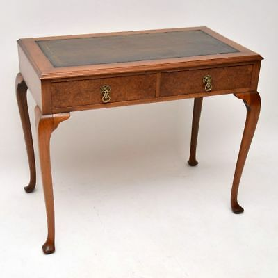 Antique Walnut Leather Top Writing Table
