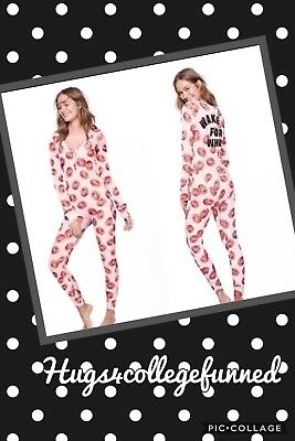 Victorias Secret VS PINK WAKE UP FOR WHAT Donut One Piece Long Jane Pajama NEW
