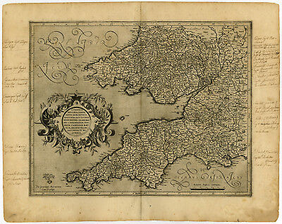 Antique Map-SOUTH WEST ENGLAND-WALES-CORNUBIA-Mercator-c. 1600