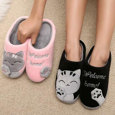 Womens Winter Slippers Soft Floor Warm Plush Indoor Cartoon Cat Couple Home Shoe