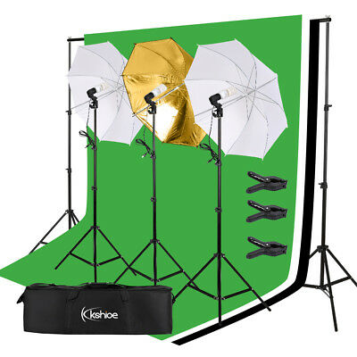 3 Umbrella Lighting Kit Studio Light Bulb Muslin Backdrop Stand for Photography