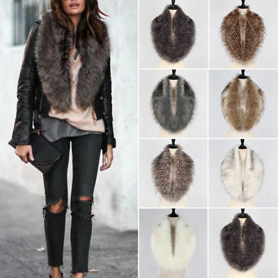 Womens Faux Fur Hooded Collar Scarf Shawl Wrap Stole Fluffy Warm Neck Warmer
