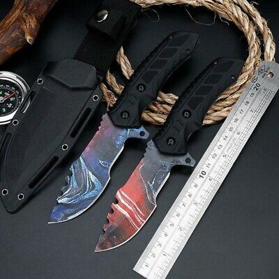 "9"" Fixed Blade Straight Tactical Survival Pocket Hunting Knife With Sheath"