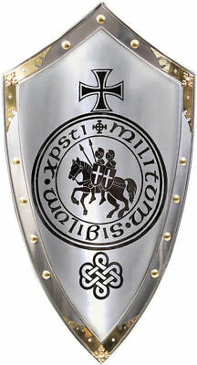 Medieval Reproduction Templar Armor Shield Made Solid Steel & Brass Full Size