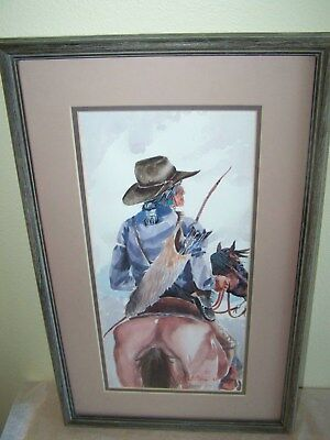 Ed Whitethorne Signed Watercolor Painting Horse And Rider