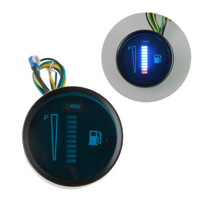 "2"" 12V BLUE Universal Car Motorcycle Fuel Level Meter Gauge 8 LED Light Display"