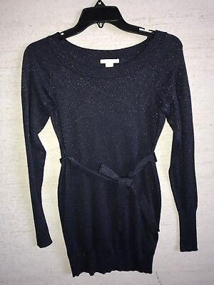 Mama H&M Blue Sparkly Tie Waist Maternity Sweater Size S