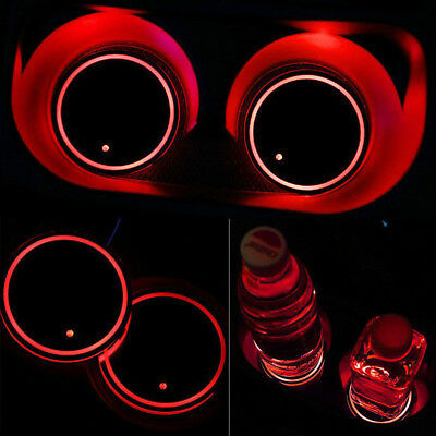 Solar Power LED Flashing Car Cup Holder Pad Mat Auto Interior Light -Red Color