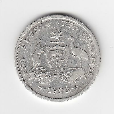 1923 Australian Silver TWO Shilling Florin (TWO BOB) KING GEORGE V (very Nice)