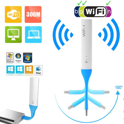 300Mbps USB 2.4G WiFi Repeater Wireless Router Range Extender Signal Booster WPS