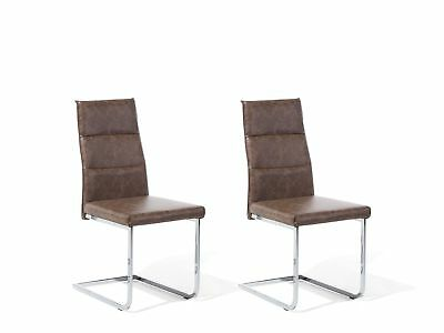 Dining Chair Set Modern Industrial Upholstered Faux Leather Dark Brown Rockford