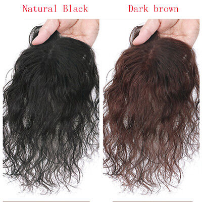 100% Human Hair Curly Wavy Topper Toupee Clip Hairpiece Top Wigs For Women