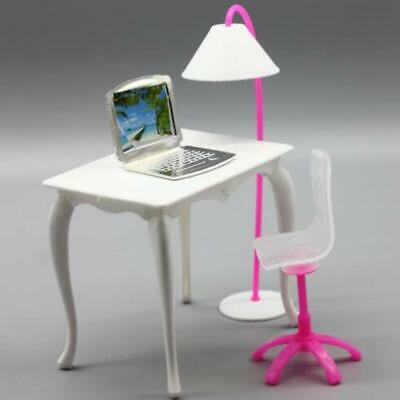 Doll Furniture Desk Lamp Laptop Chair Accessories For Barbie Role Play House ZT
