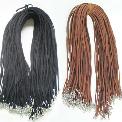 10pcs Suede Leather String Necklace Cord Jewelry Making DIY Craft Black Brown