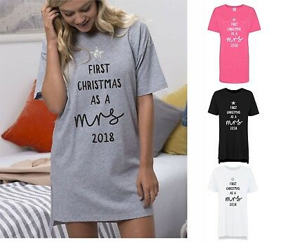 First Christmas As A Mrs 2018 Ladies Womens Oversized Sleep Shirt Nightie Wife