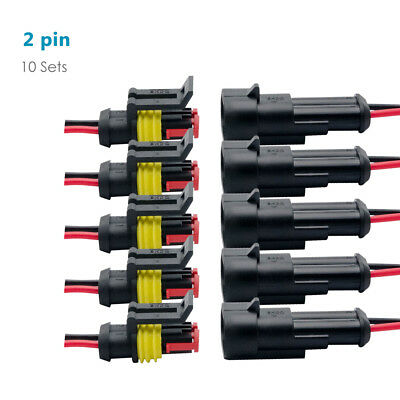 10Pcs 2Pin Way 12V Electrical Wire Connector Plug Cable Waterproof Car ATV AU