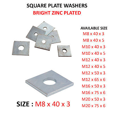 M16 x 50 x 50 x 3mm THICK SQUARE PLATE WASHERS ZINC PLATED