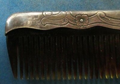 Antique Silver Comb Hallmarked & Numbered - Some Teeth Missing