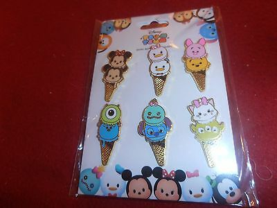 6 Disney Pins Booster set HKDL Tsum Tsum Ice Cream Cones  As Seen.   lot wall