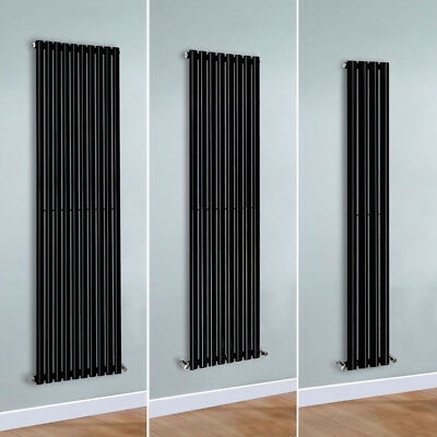 Modern Vertical Oval Column Designer Tall Upright Central Heating Radiator Black