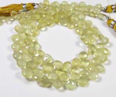 """Natural Yellow Heliodor Faceted Heart Shape Briolette Gemstone Beads 9"""" Strand"""