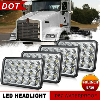 "4pcs 4x6""inch Rectangle Led Headlight Hi-Lo Seal for Peterbilt Kenworth H4666"