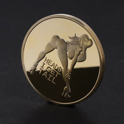 Sexy Beauty Hot Ass Girl Woman Coin Heads I Get Trail Round Coin Collection