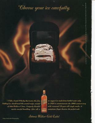"""Johnnie Walker Whisky Gold Label Ad """"choose Your Ice Carefully"""" Bar Print Decor"""