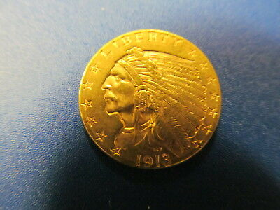 1913  Gold  $21/2  Dollar Indian Quarter Eagle Coin -  Ext. Fine At The Least!