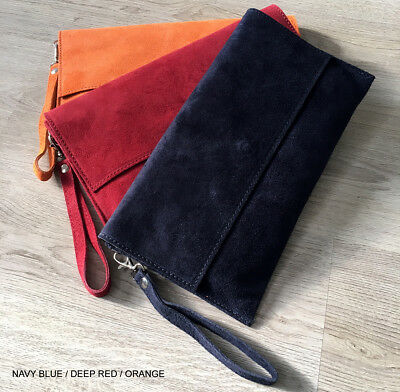 Real Suede Large Envelope Clutch Bag Italian Leather Oversized Evening Party