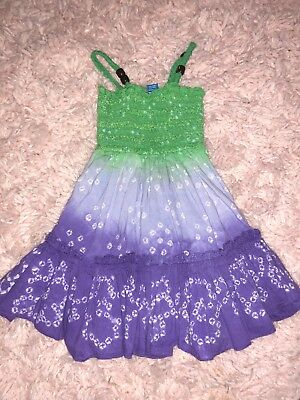 The Childrens Place Baby Dress 12 Months tye dye Beach Outfit Purple Green Euc