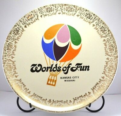 "Vintage WORLDS OF FUN With Gold Filigree Decorative Plate 9-1/8"" Diameter"